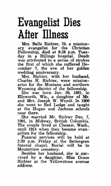 Richter, Belle- Obituary