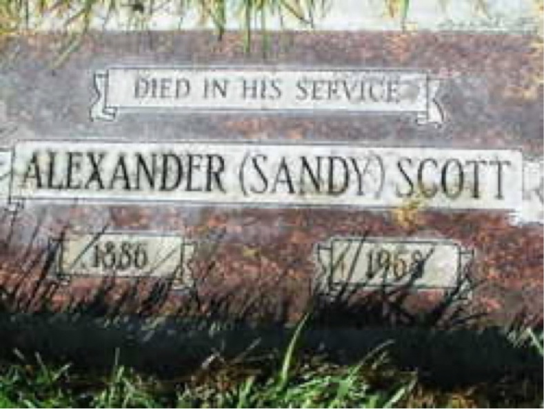 Scott, Alexander (Sandy) Tombstone