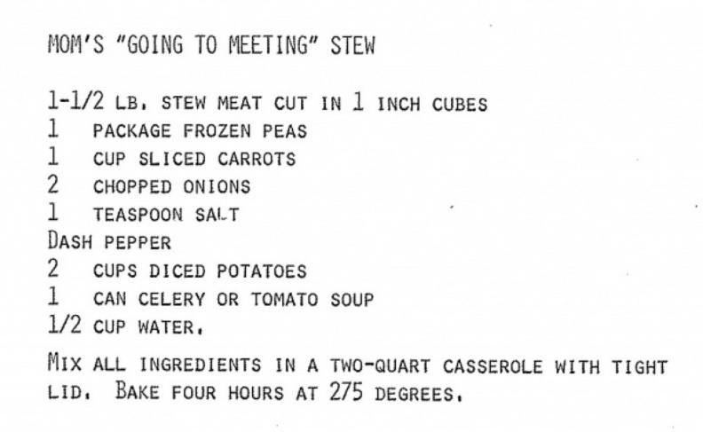 Recipe-Going to Meeting Stew