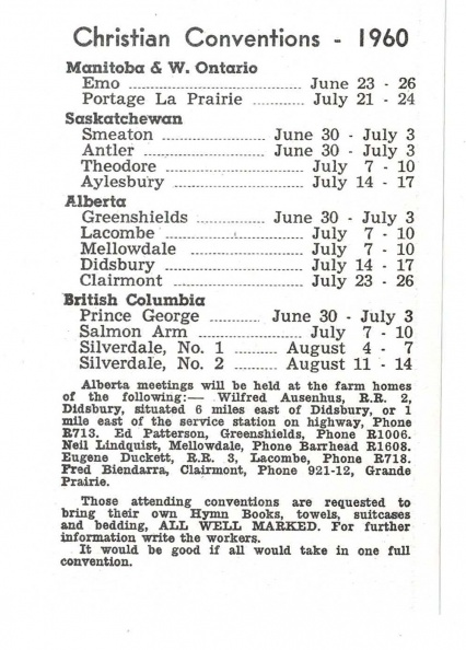 1960 Canada Christian Conventions List