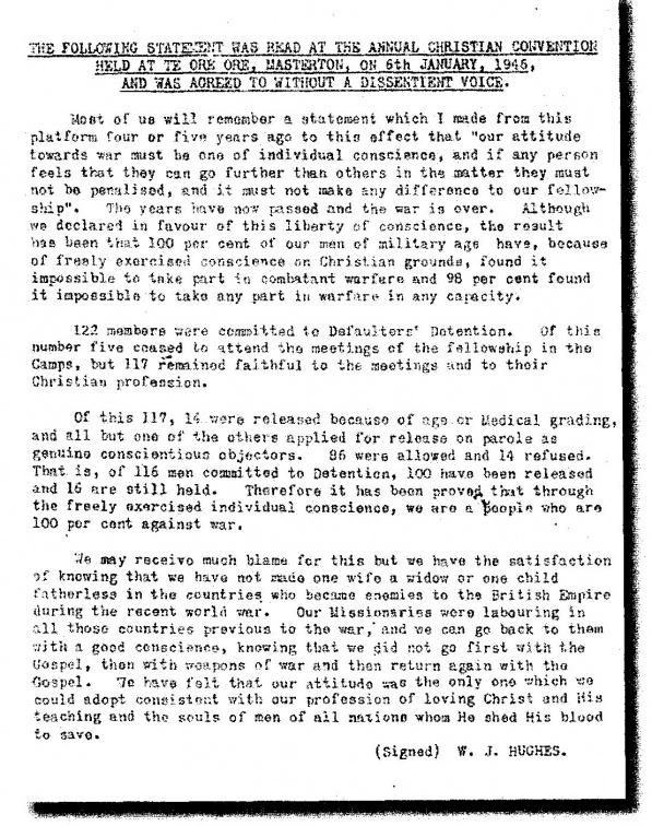 1946 Jan6 Masterton NZ Statement by W J Hughes