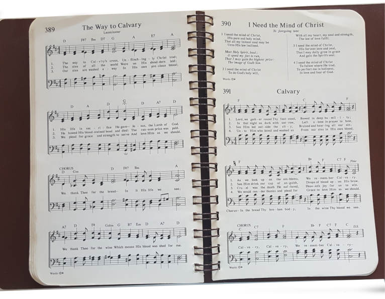 1987  Hymnbook open page