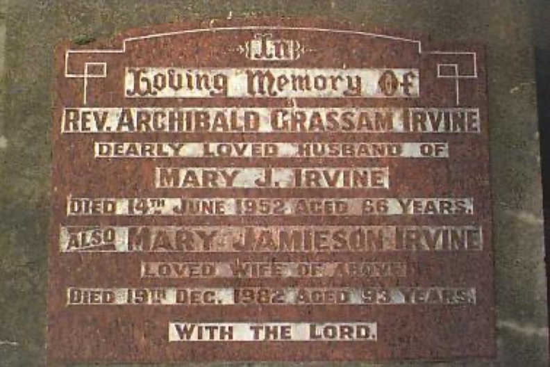 Archie Irvine and wife Mary Tombstone